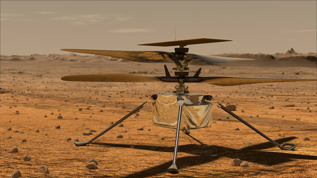An illustration of NASA's Ingenuity helicopter on the Martian surface