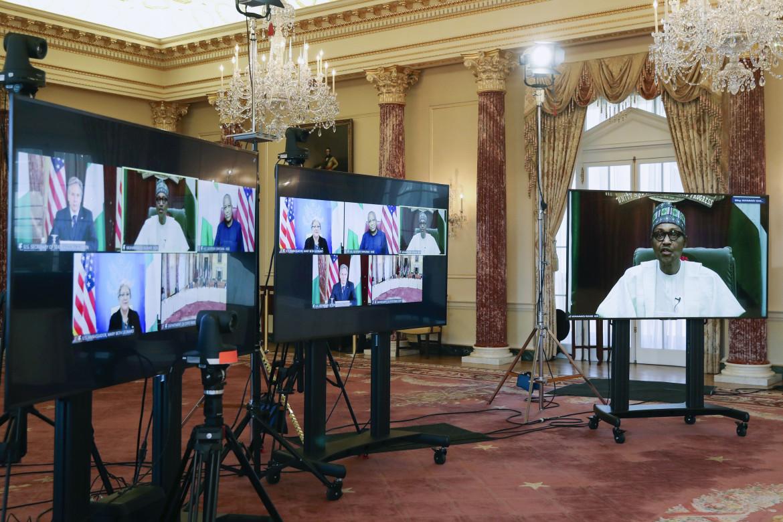 Il presidente nigeriano Muhammadu Buhari a colloquio con il segretario di stato Usa Anthony Blinken