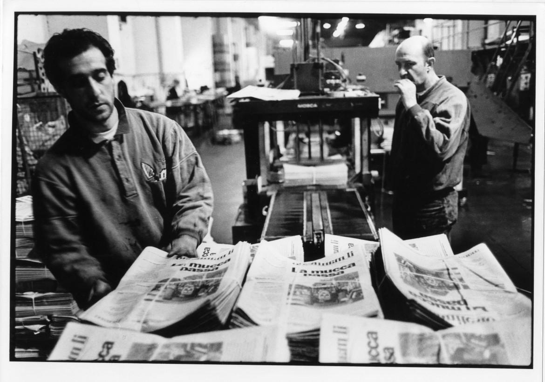 La stampa del manifesto a 50.000 lire nel 1997
