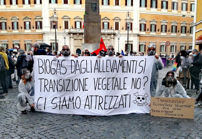 La protesta a piazza Montecitorio