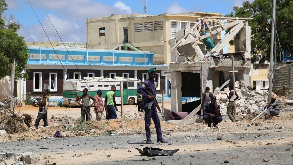 Il luogo dell'attacco terrorista di ieri a Mogadiscio