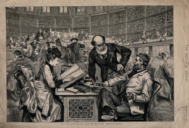 Un'incisione del 1874 della sala di lettura del British Museum