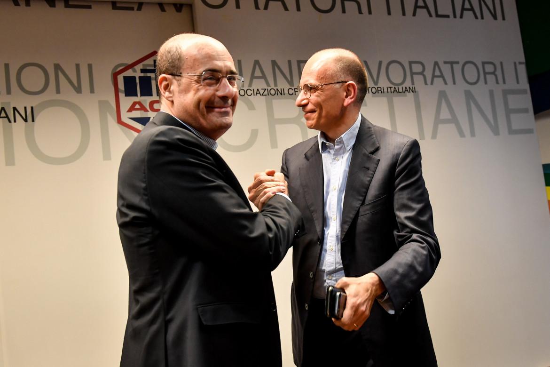 Enrico Letta con Nicola Zingaretti
