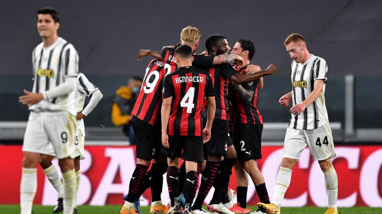 Festeggiamenti rossoneri durante Juventus Milan 0-3