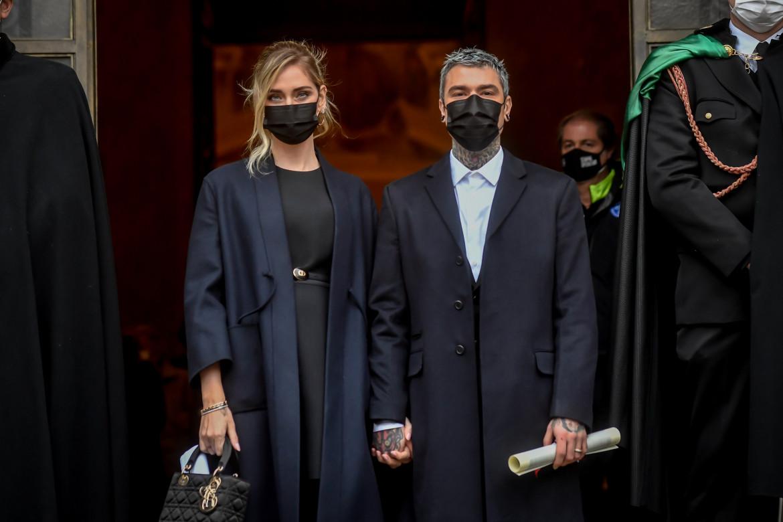 Ferragni e Fedez alla consegna degli Ambrogini d'oro nel dicembre 2020 a Milano