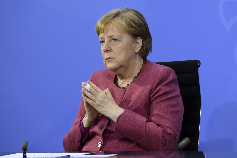 Angela Merkel in conferenza stampa a Berlino