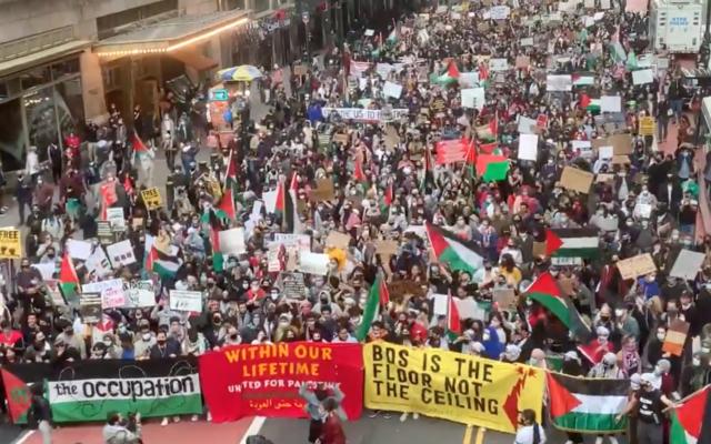 Manifestazione pro Palestina a New York