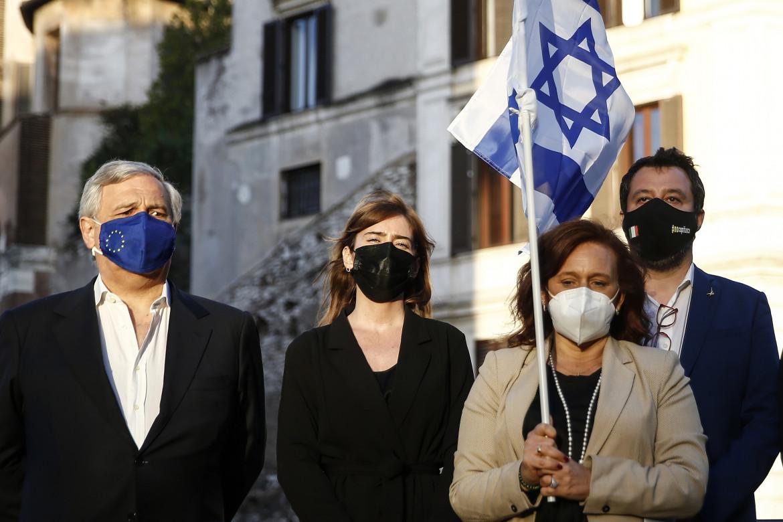 Antonio Tajani, Maria Elena Boschi, Matteo Salvini e Ruth Dureghello