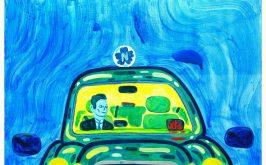 Taxi mini dellartista danese Mormor