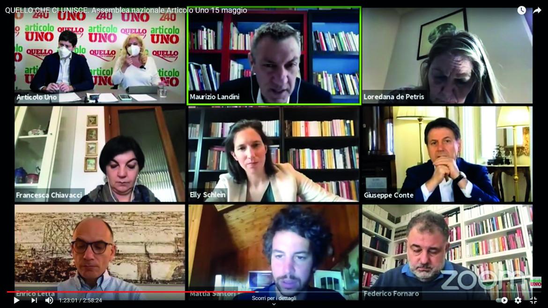 Roberto Speranza, Giuseppe Conte, Enrico Letta, Maurizio Landini e altri all'assemblea di Art.1