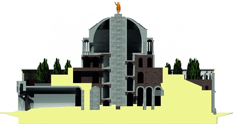 Mausoleo di Augusto, sezione longitudinale  della ricostruzione