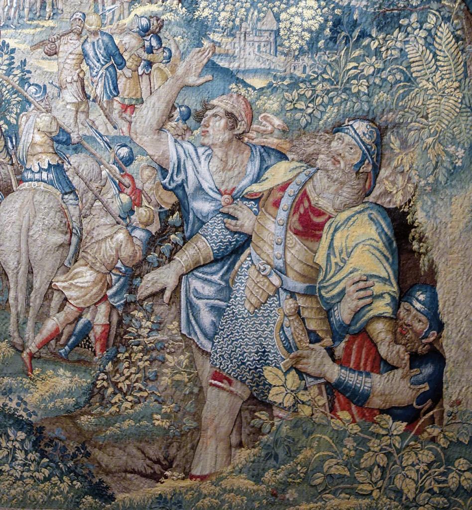 Arazzo fiammingo  del tardo Cinquecento, part., raffigurante Giuseppe Flavio, difensore di Iotapata, che esce da una grotta dopo la caduta della città  a opera di Vespasiano, Marsala, Museo  degli Arazzi Fiamminghi