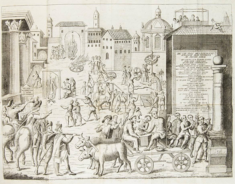 Stampa del 1839 (Gaspare Truffi e Comp., Milano) che illustra il processo originale  degli untori nella peste del 1630