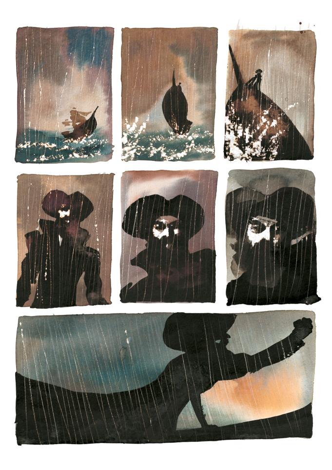 Una tavola di «Moby Dick» di Alessandro Sanna (Rizzoli)