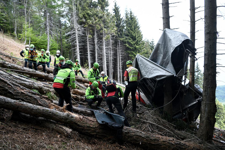 Sopralluogo del Soccorso Alpino sul luogo dell'incidente della Funivia Stresa-Mottarone