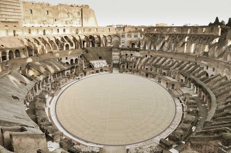 Rendering arena del Colosseo, secondo il progetto vincitore