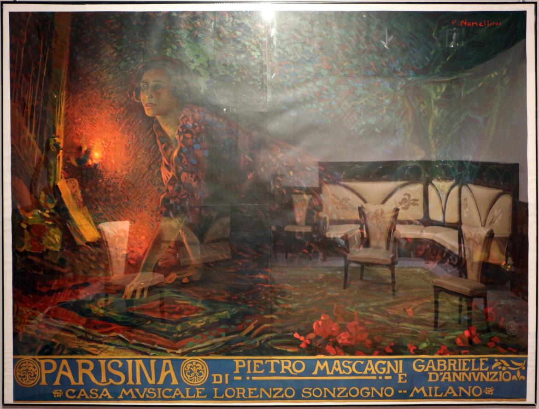 Poster di Plinio Nomellini per la «Parisina»  di Pietro Mascagni su libretto  di Gabriele D'Annunzio, tratto dal poema di Byron