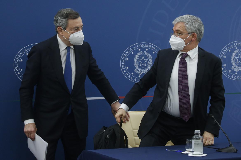 Mario Draghi e il ministro dell'Economia Daniele Franco