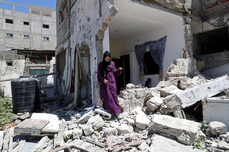 Una casa di Gaza bombardata dall'aviazione israeliana