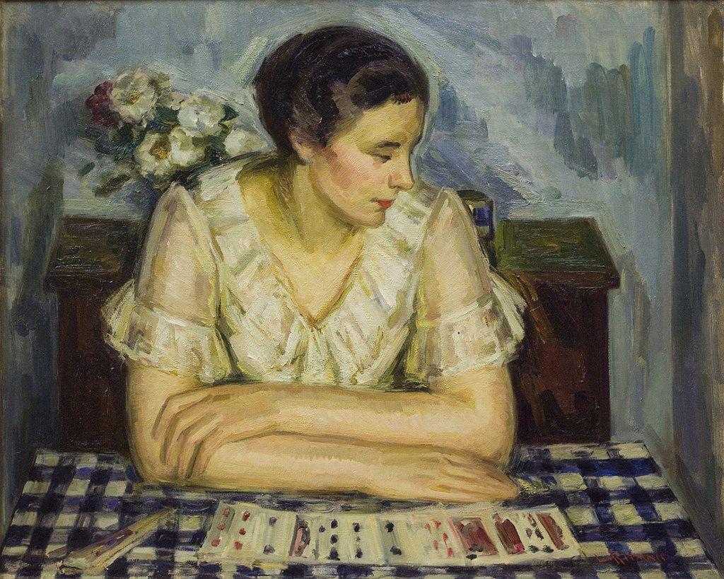 Louis Ritman, «Donna che gioca  un Solitario», 1920 ca.