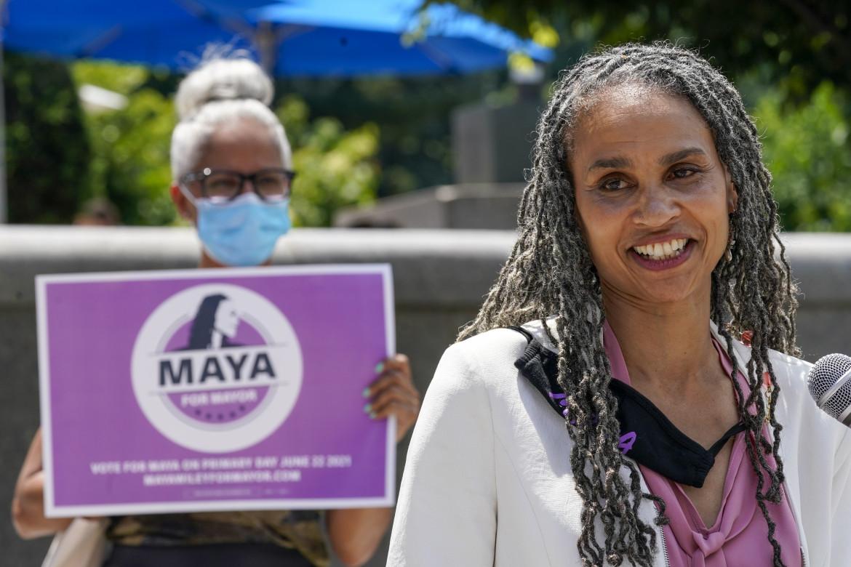 Brooklyn, la candidata sindaca di New York City per il partito democratico, Maya Wiley