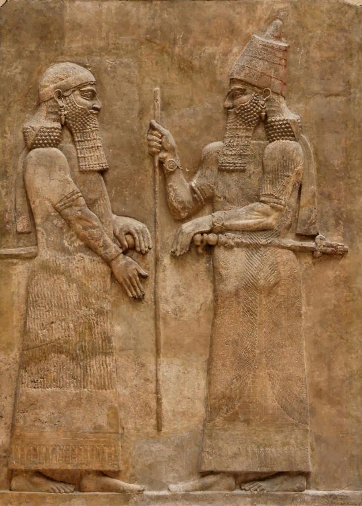 Il re Sargon II e il principe ereditario Sennacherib: rilievo dal Palazzo Reale di Khorsabad, Periodo Neoassiro, Parigi, Louvre