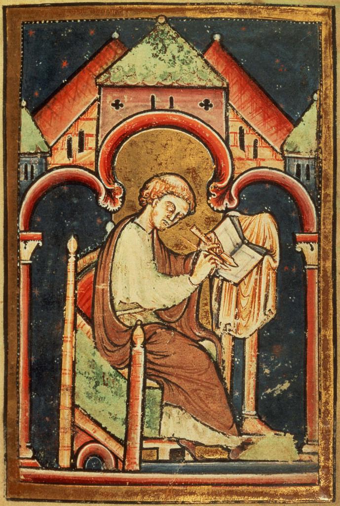 Ritratto del Venerabile Beda, da una copia  del XII secolo della sua  Vita di San Cutberto, Londra, British Library