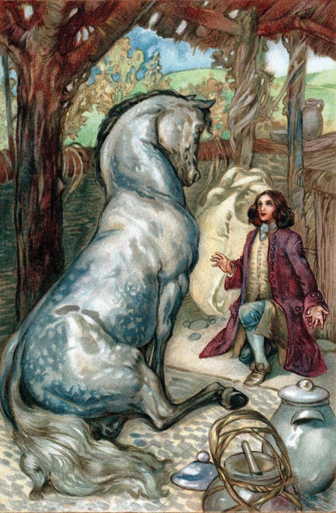 Gulliver nel regno  degli Houyhnhns: illustrazione  di A E Jackson  per un'edizione  dei Gulliver's Travels  di Jonathan Swift,  New York 1911