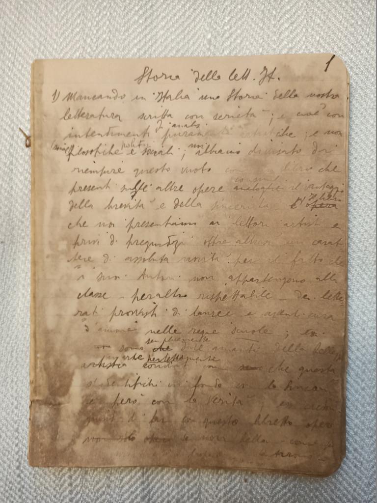 Prima pagina  del manoscritto originale  di Eugenio Montale, denominato Quaderno genovese