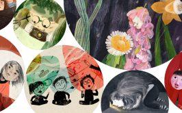 Collage degli illustratori e illustratrici della mostra Il bambino spettatore al Bologna Childrens Book Fair