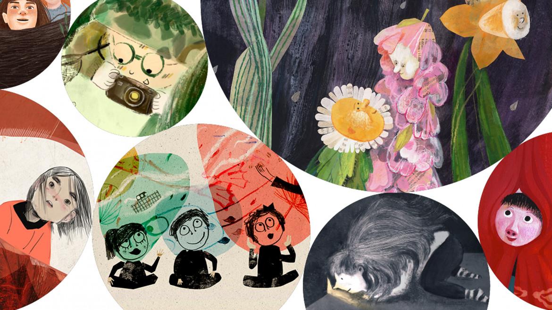 Collage degli illustratori e illustratrici della mostra «Il bambino spettatore» al Bologna Children's Book Fair