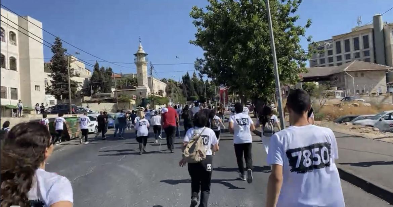 Gerusalemme Est. La partenza della maratona Sheikh Jarrah - Silwan.