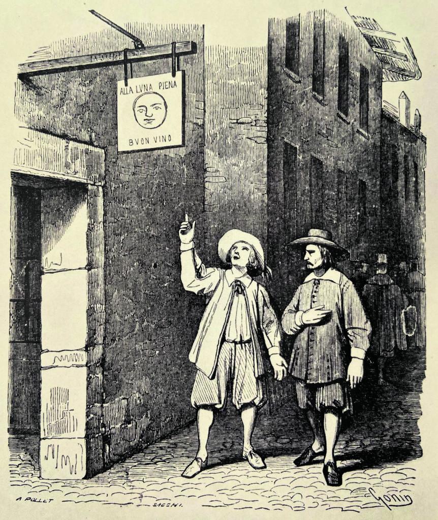 Renzo all'ingresso dell'osteria della luna piena (I Promessi Sposi, cap. XIV), illustrazione di Francesco Gonin