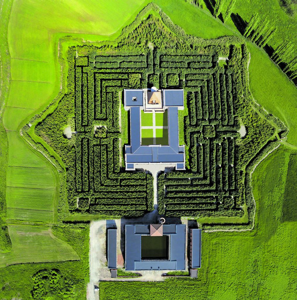Fontanellato, Parma, veduta aerea del Labirinto della Masone creato  da Franco Maria Ricci, editore e collezionista (1937-2020)
