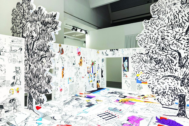 Carlo Aymonino, dalla mostra «Fedeltà al tradimento», Collage di disegni © Triennale Milano foto di Gianluca Di Ioia