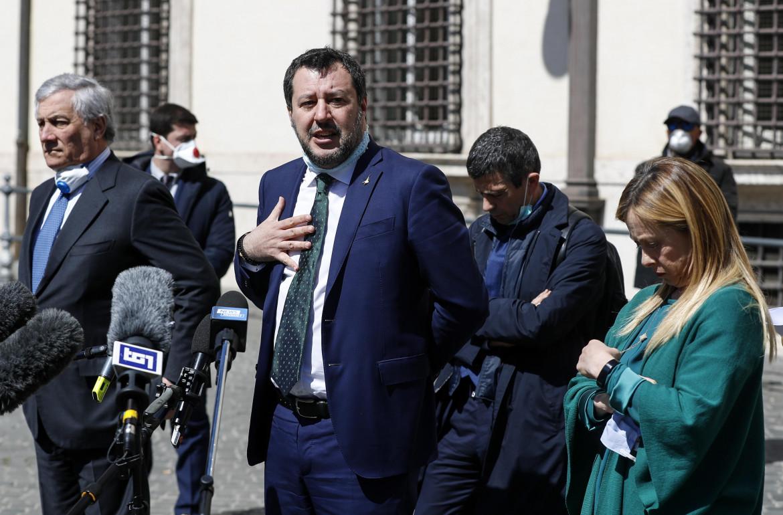i leader del centrodestra Tajani, Salvini, Meloni