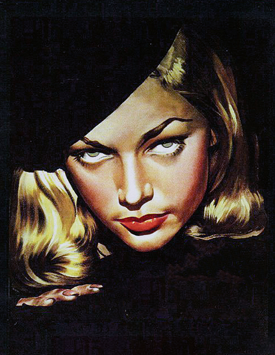 Il volto di Lauren Bacall dalla locandina del film The Big Sleep diretto nel 1946 da Howard Hawks e interpretato anche da da Humphrey Bogart
