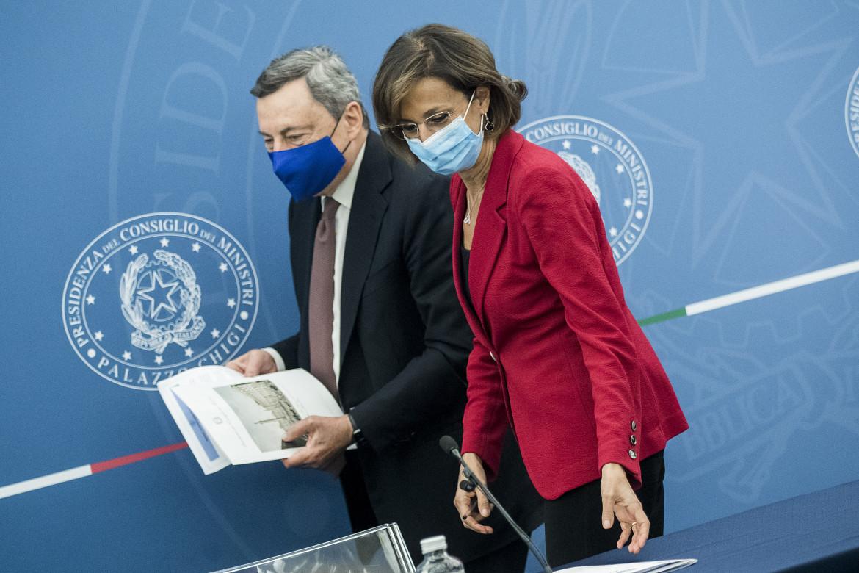 Il premier Mario Draghi e la ministra della giustizia Marta Cartabia