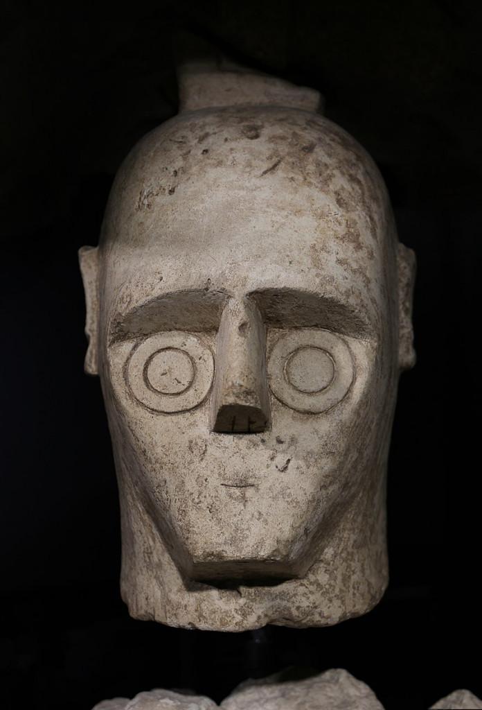 Il volto di uno dei giganti di Mont'e Prama