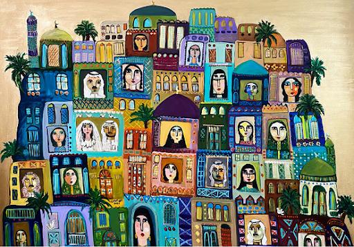 Un'opera di Tagreed Albagshi utilizzata per la copertina dell'antologia