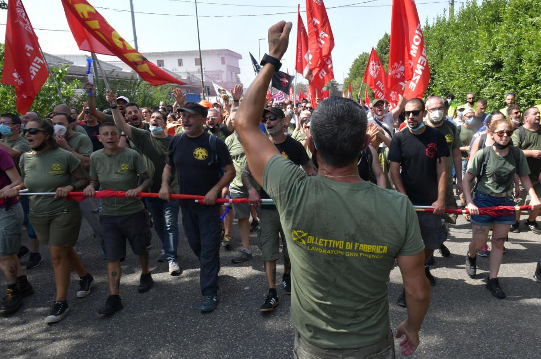 Protesta dei lavoratori della Gkn