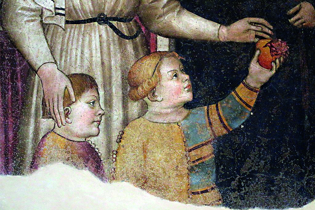 Niccolò di Pietro Gerini e Ambrogio di Baldese , «I capitani della misericordia affidano alle madri adottive i fanciulli abbandonati», 1386 (dettaglio), museo dei Bigallo, Firenze