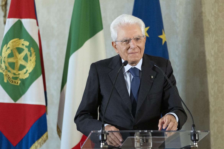 Sergio Mattarella collegato ieri mattina dal Quirinale per l'inaugurazione del Meeting di Cl a Rimini