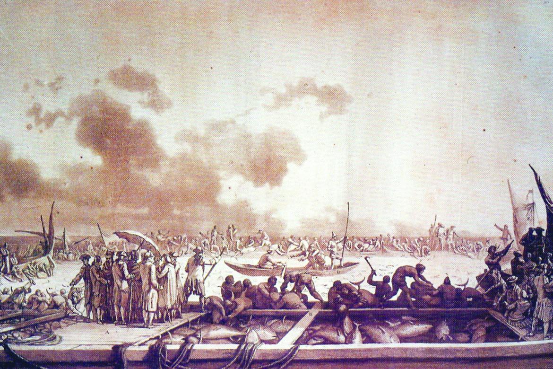 «La pesca del tonno», acquaforte di Jean Pierre Houël, 1782