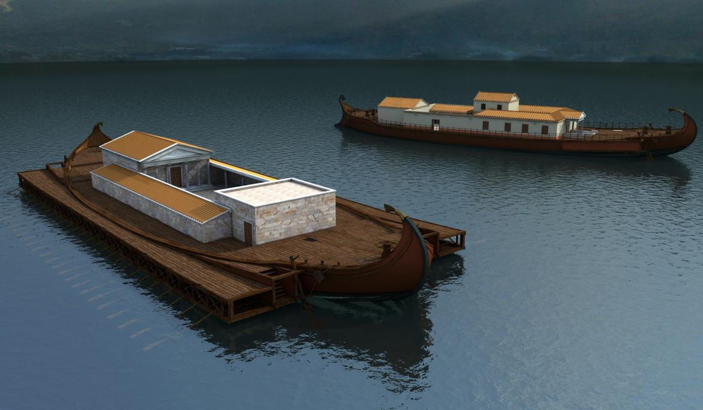 Una ricostruzione delle navi di Caligola affondate a Nemi