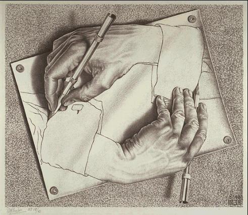 «Drawing Hands» di Escher (1948)