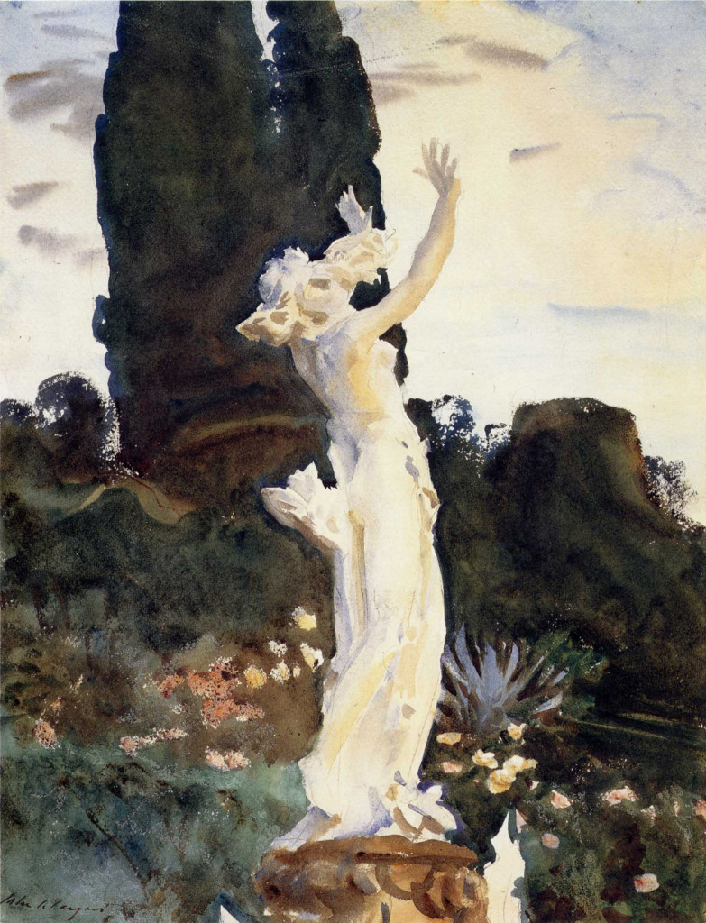 Un acquerello italiano  di John Singer Sargent: Statua di Daphne, 1910, Boston, Museum  of Fine Arts, immagine presa da: Sargent Abroad. Figures  and Landscapes, Abbeville Press Publishers, 1997