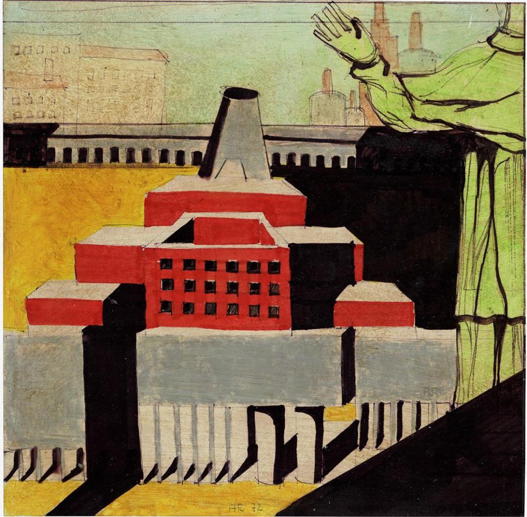 Aldo Rossi, «Architettura con santo. Composizione architettonica con figura umana», 1972