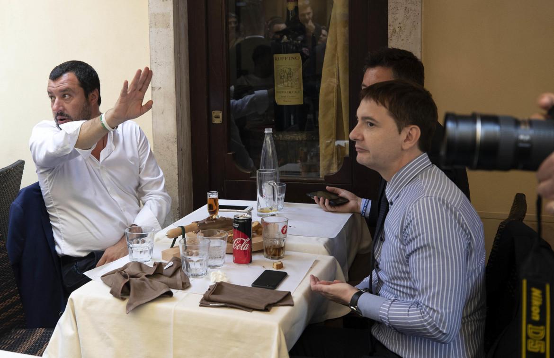 Matteo Salvini a pranzo con Luca Morisi