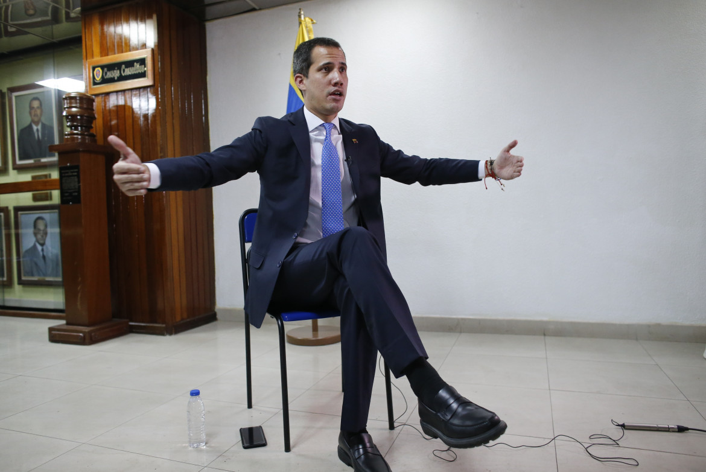 Juan Guaidó durante un'intervista a Caracas